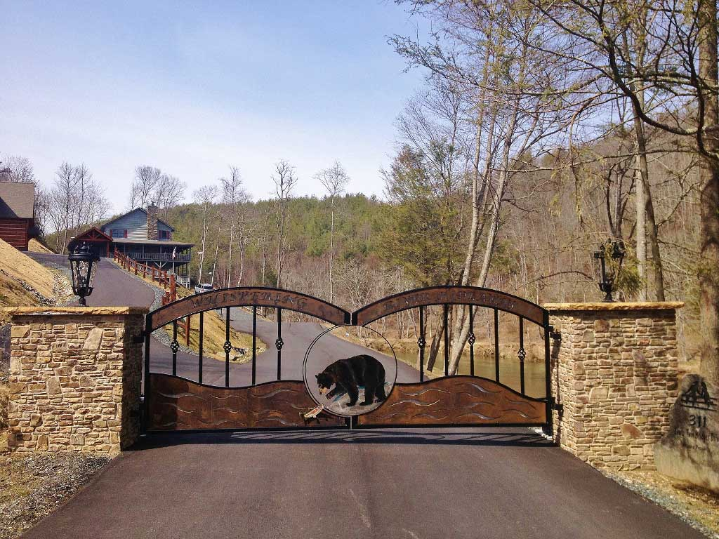 Front gate with bear in Lenoir, NC